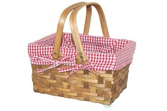 Vintiquewise Rectangular Basket Lined with Gingham Lining, Wood, Natural Brown, Small