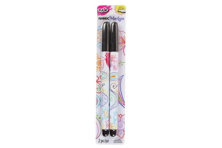 Tulip Fine Writer Fabric Markers 2/Pkg-Black