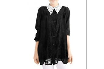 Allegra K Women's Crochet Collar Long Sleeve Loose Top Black (Size L / 12)