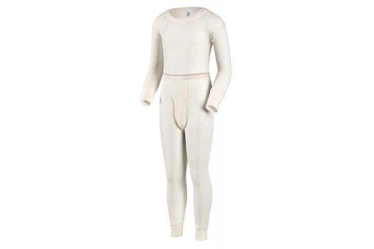 (Large, Natural) - Indera Boys Traditional Thermal Underwear Shirt and Pant Set