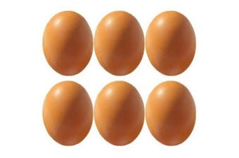 6Pcs Wooden Faux Fake Eggs, Children Play Kitchen Game Food Toy - Log Colour