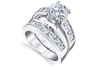 (7.5) - Sterling Silver Bridal Set Engagement Wedding Ring Bands with Round and Princess Cut Cubic Zirconia