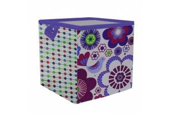 Bacati Botanical Storage Box, Purple, Small