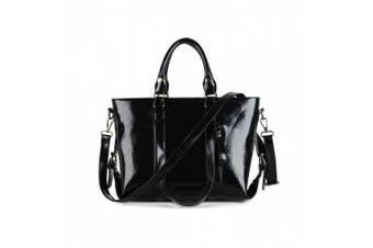 (A-black) - S-ZONE 3-Way Women's Genuine Leather Shoulder Tote Bag Handbag