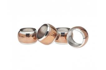 (4) - Copper Napkin Ring Hammerd Set Of 4