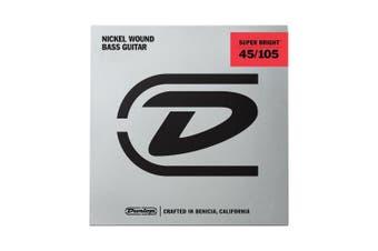 (Medium, 4 String) - Dunlop DBSBS45105 Super Bright Bass Strings, Stainless Steel, Medium, .045-.105, 4 Strings/Set