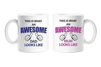 This Is What An Awesome Mum Dad Mug Set Parents Present Mum and Dad Gift New Baby Christmas Anniversary Cup Ceramic