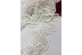 (Ivory) - 2 Yards, Bridal Lace Trim on Organza, Pearls and Clear Sequins, for Veil, Wedding Dresses, Garments, Ivory, 10cm Inches