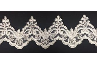 (White) - 2 Yards, Bridal Lace Trim on Organza, Pearls and Clear Sequins, for Veil, Wedding Dresses, Garments, White, 10cm Inches