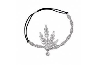 (Silver-2) - Babeyond® Art Deco 1920's Flapper Great Gatsby Inspired Leaf Medallion Pearl Headpiece Headband Silver