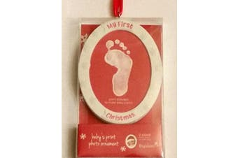 (Footprint Ornament Kit) - Tiny Ideas Baby's Print Holiday Photo Ornament, Creative Gift to Celebrate Baby's First Christmas, White