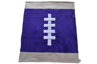 (80cm  x 90cm , Purple/Tan) - Cosy Wozy Football Themed Minky Baby Blanket, Purple/Tan, 80cm x 90cm