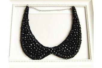 Crystal Beaded Necklace Chain Detachable False Collar Black