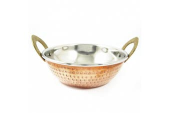 (Copper-5) - Serving Bowl Indian Copper Karahi Indian Cuisine Tableware Copper Steel 1 Pcs