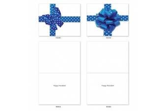 M1768HK Beribboned In Blue: 10 Assorted Hanukkah Note Cards w/White Envelopes.