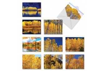 (10 Assorted Blank Note Cards (SKU:M1729BN)) - M1729BN Golden Foliage: 10 Assorted Blank Thank You Note Cards w/White Envelopes.