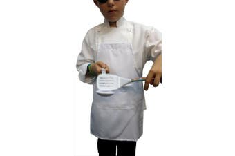 (10, MEDIUM (8-12 yrs)) - Chefskin White Apron Kids Children Available in All Sizes Fabric (10, Medium (8-12 Yrs))