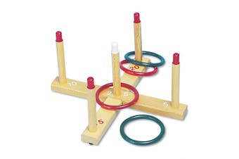 Champion Sports Ring Toss Set, Plastic/Wood, Assorted Colours, 4 Rings/5 Pegs/Set