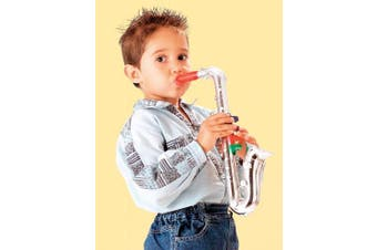(saxophone) - Click n' Play Metallic silver saxophone with 8 coloured keys