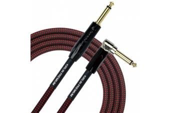 (3m, BR) - KIRLIN Cable IWB-202BFGL-10/BR 3m Premium Plus Instrument Cable, Black/Red Woven Jacket