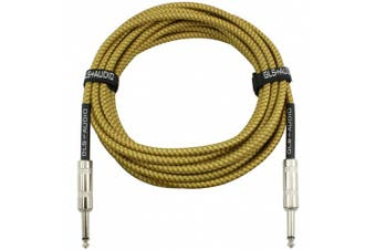GLS Audio 6.1m Guitar Instrument Cable - 1/4 Inch TS to 1/4 Inch TS 6.1m Brown Yellow Tweed Cloth Jacket - 6.1m Pro Cord 6.1m Phono 6.3mm - SINGLE