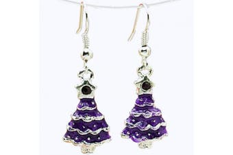 Purple Crystal Rhinestone Christmas Tree Drop Dangly Earrings in Gift Bag Womens Girls Silver Jewellery