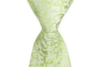 Matching Tie Guy 4162 G9 - 24cm . Zipper Necktie - Green With Vines 6 to 18 Month