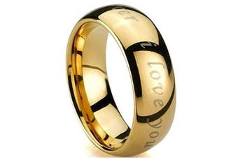 (O) - Tungsten Engraved with I Love You Gold GP Tungsten Carbide Wedding Engagement Band Ring