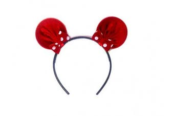 (Micky Red) - MeeTHan Mouse Ears Elastic Yoga Headband Red Dot Polka Kids Infants Hair bands Bow: M2 (Red)