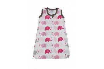 (Small, Elephants Pink/Grey) - Bacati - Muslin Printed Sleep Sack (Wearable Blankets) (Small, Elephants Pink/Grey)