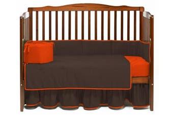 (Brown/Orange) - Baby Doll Solid Reversible Crib Bedding Set, Brown/Orange