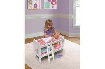 (white/chevron) - Badger Basket Chevron Doll Bunk Bed with Bedding and Ladder - White/Pink - Fits Most 46cm Dolls & My Life As