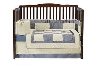 Baby Doll Croco Minky Crib Set, Beige/Grey
