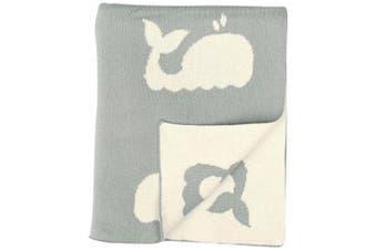 (90cm  x 110cm , Grey/Natural) - DARZZI Whale Baby Blanket, Grey/Natural, 90cm x 110cm