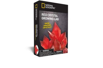 (Red) - NATIONAL GEOGRAPHIC Red Crystal Growing Lab – DIY Crystal Creation - Includes Real Aragonite Crystal Specimen