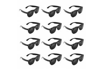 Plastic Black Vintage Retro Wayfarer Style Sunglasses Shades Eyewear for Party Prop Favours, Decorations, Toy Gifts (12 Pairs) by Super Z Outlet®