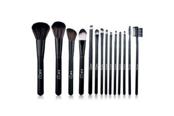 Glow 14 Makeup Brushes Set; Black