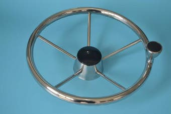 Amarine-made 5-spoke 34cm Destroyer Style Stainless Boat Steering Wheel with Knob - 9310SRF1