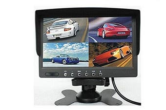 BW DC12V-24V 18cm 4 Split Quad LCD Screen Display Colour Rear View Car Monitor For Car Truck Bus Reversing Camera