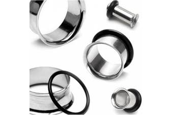 (Silvertone) - BodyJ4You Men's Plugs Kit 00G-20mm Stainless Steel Plugs Stretching Kit (10mm-20mm) - 12 Pieces