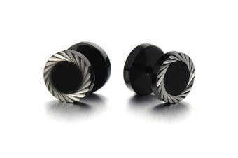 (Wide:10MM) - Illusion Tunnel Plug Black Stainless Steel Mens Earrings Screw Back with Laser Patterns, 2 pcs