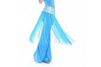 (Lake Blue) - BellyLady Belly Dance Hip scarf, Sequined Fringe Skirt Wrap, Halloween Idea