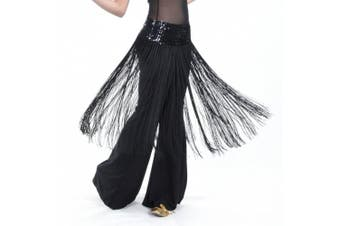 (Black) - BellyLady Belly Dance Hip scarf, Sequined Fringe Skirt Wrap, Halloween Idea