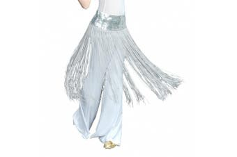 (Silver) - BellyLady Belly Dance Hip scarf, Sequined Fringe Skirt Wrap, Halloween Idea