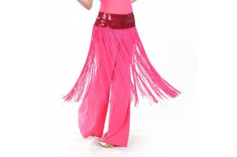 (Rose Red) - BellyLady Belly Dance Hip scarf, Sequined Fringe Skirt Wrap, Halloween Idea