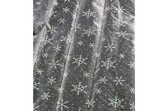 (White with Silver Snowflake) - Stunning Silver Snowflake Table Runner 140cm x 41cm For Frozen Themed Parties