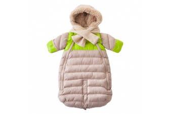 (Large, Beige/Neon Lime) - 7AM Enfant Doudoune One Piece Infant Snowsuit Bunting, Beige/Neon Lime, Large