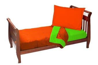 (Orange/Apple) - Baby Doll Solid Reversible Toddler Bedding Set, Orange/Apple