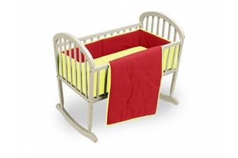 (Red/Yellow) - Baby Doll Solid Reversible Cradle Bedding Set, Red/Yellow