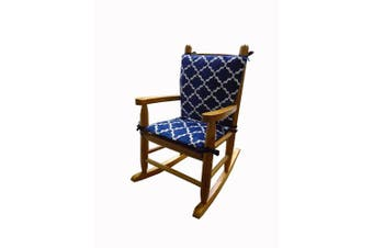 Baby Doll Bedding Lattice Minky Junior Rocking Chair Pad, Navy/White